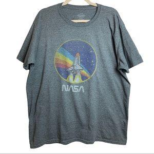 NASA Graphic T-Shirt Size XL Cotton Blend Grey